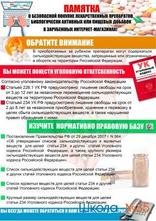 Памятка о безопасной покупке лекарственных препаратов, биологически активных